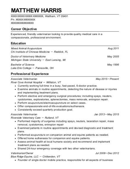 Associate Veterinarian resume format Vermont