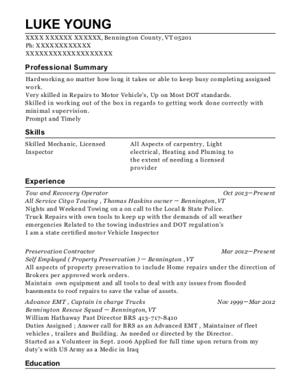 Tow and Recovery Operator resume format Vermont