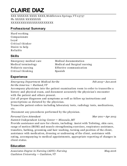 Emergency Department Medical Scribe resume example Vermont