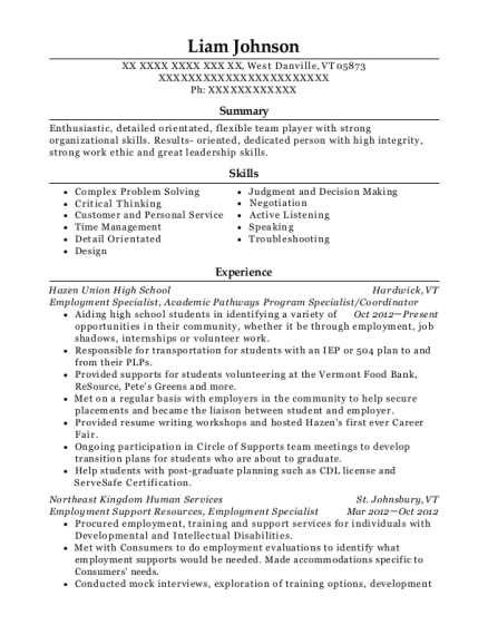 Employment Specialist resume sample Vermont