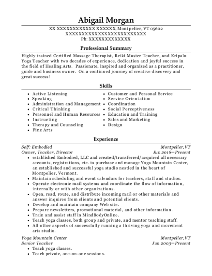 Owner resume format Vermont