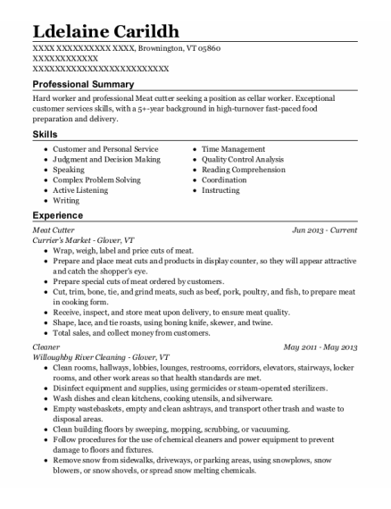 Meat Cutter resume example Vermont