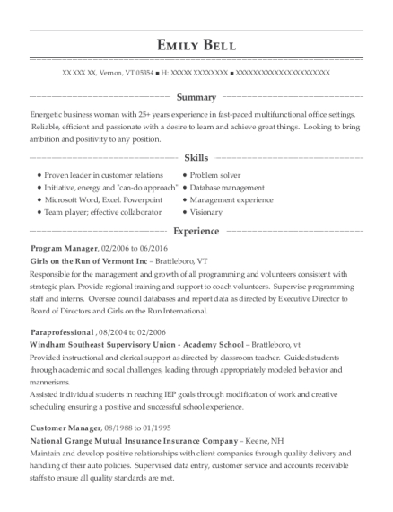 Program Manager resume template Vermont