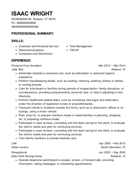 Personal Care Assistant resume example Vermont