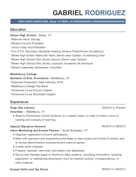 Page One Literacy resume format Vermont