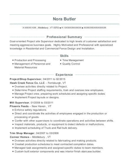Project resume template Vermont