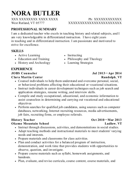 JOBS Counselor resume format Vermont