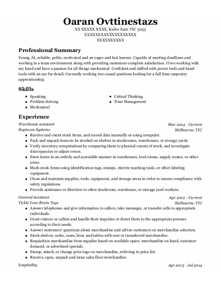 Warehouse assistant resume template VIC