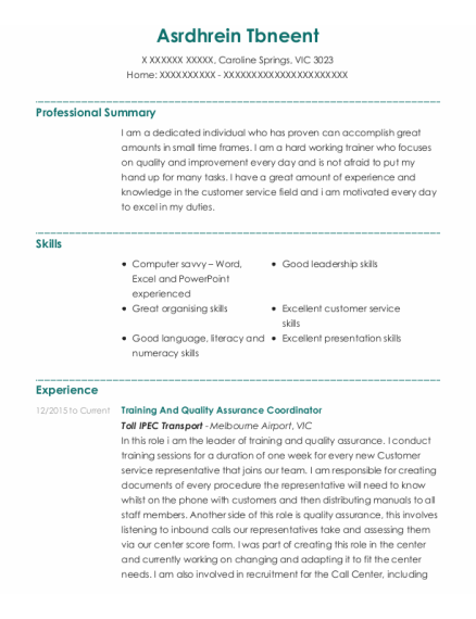 Customer Service Consultant resume example VIC
