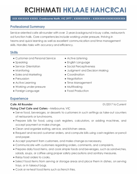 double exposure cafe cafe all rounder resume sample