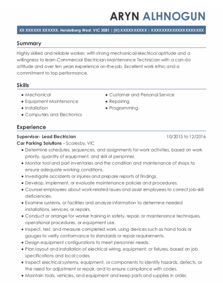 Electrical Technician resume example VIC