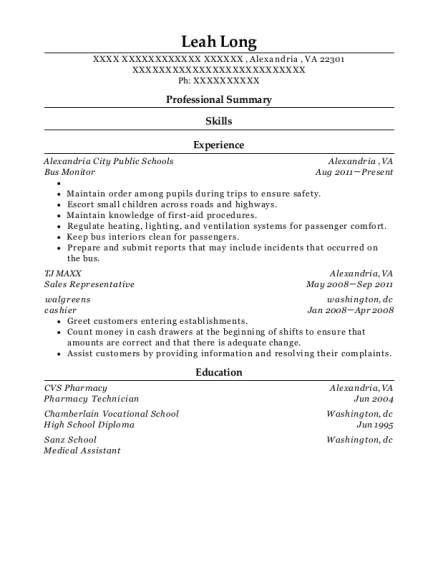 Bus Monitor resume example Virginia