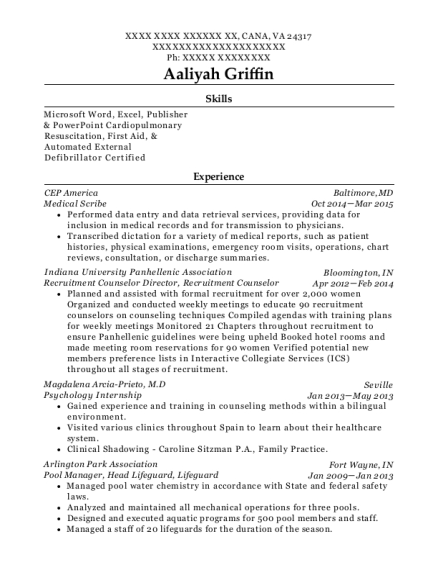 Medical Scribe resume template Virginia