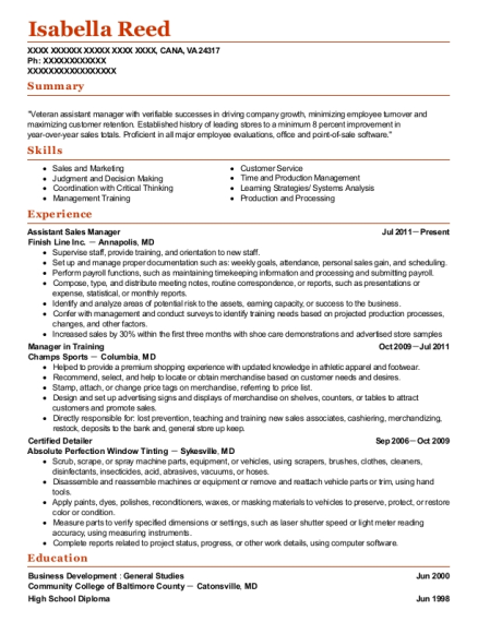 Assistant Sales Manager resume example Virginia