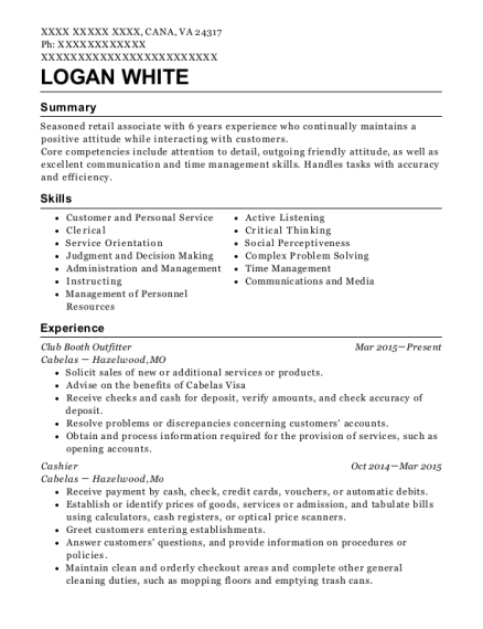 Club Booth Outfitter resume example Virginia
