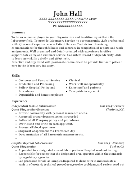 Independent Mobile Phlebotomist resume example Virginia