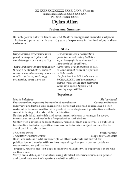 Feature writer resume format Virginia
