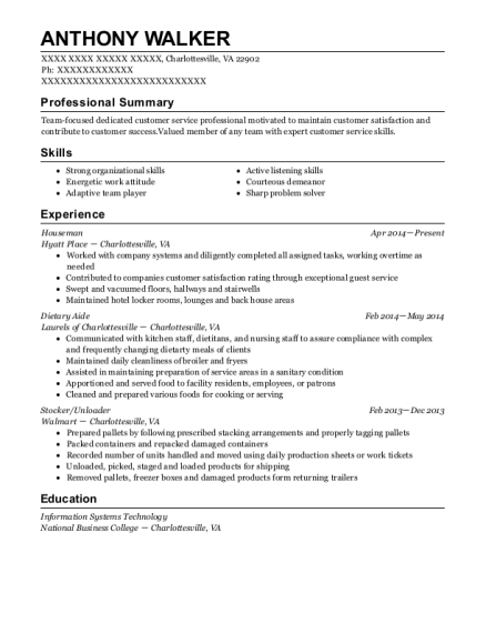 Houseman resume sample Virginia