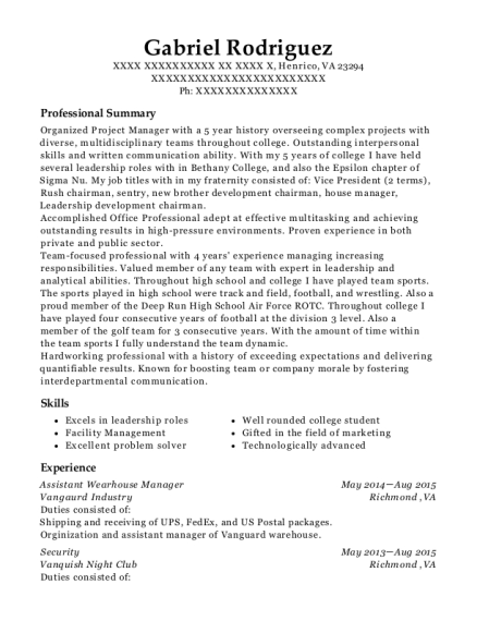 Assistant Wearhouse Manager resume sample Virginia
