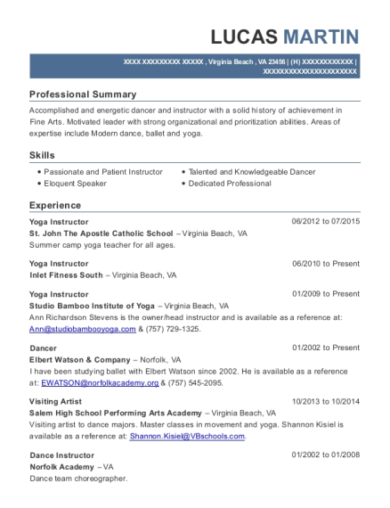 Yoga Instructor resume format Virginia