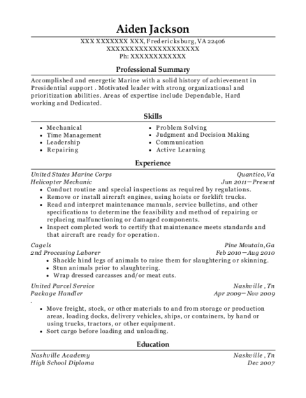 Helicopter Mechanic resume template Virginia