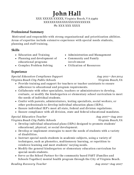Special Education Compliance Support resume format Virginia