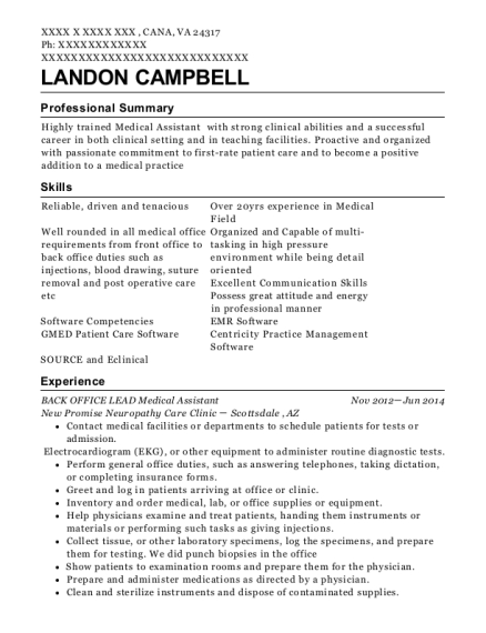 BACK OFFICE LEAD Medical Assistant resume template Virginia