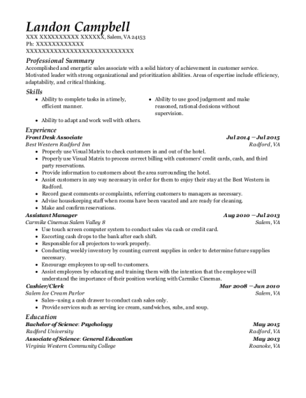 Front Desk Associate resume template Virginia