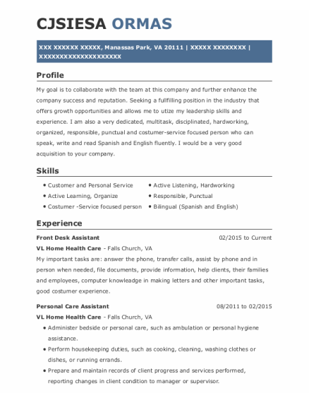 Front Desk Assistant resume example Virginia