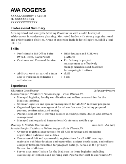 Education Coordinator resume sample Virginia