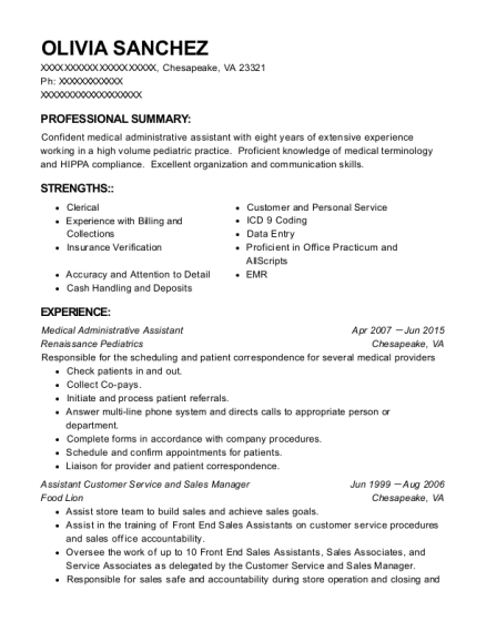 Medical Administrative Assistant resume format Virginia