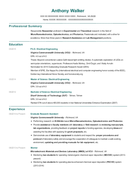 Graduate Research Assistant resume template Virginia