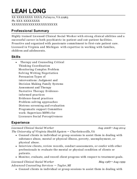 Licensed Clinical Social Worker resume example Virginia