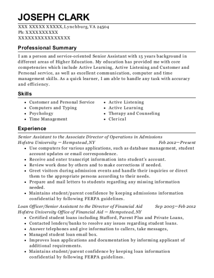 Senior Assistant to the Associate Director of Operations in Admissions resume template Virginia