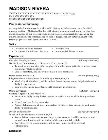 Certified Nursing Assitant resume sample Virginia