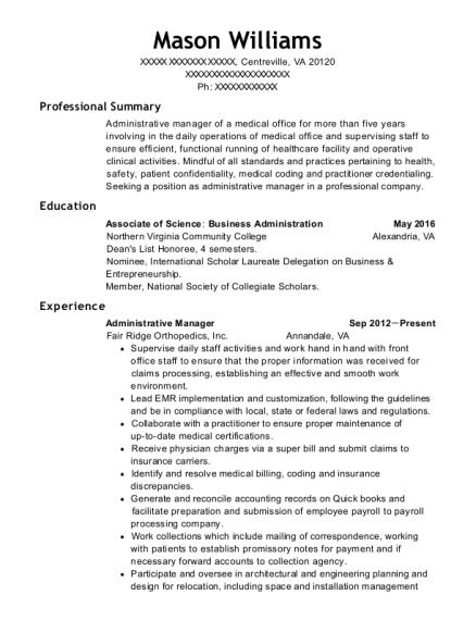 Administrative Manager resume format Virginia