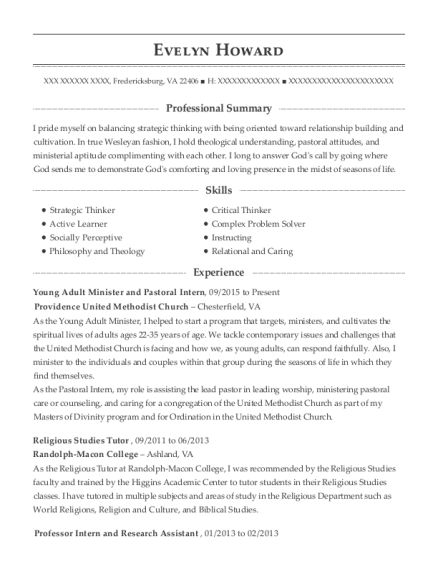 Young Adult Minister and Pastoral Intern resume example Virginia