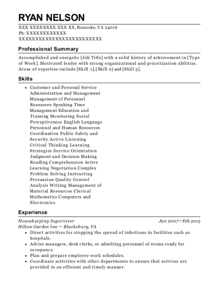 Housekeeping Supervisor resume template Virginia