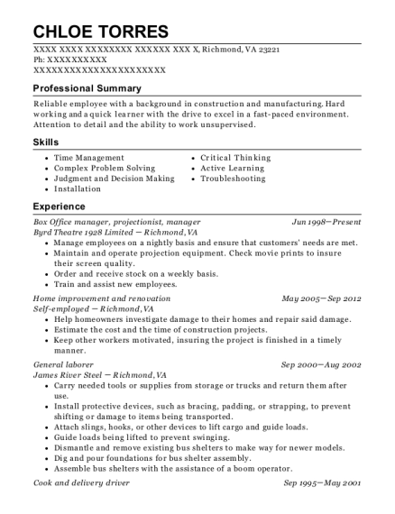 Box Office manager resume sample Virginia