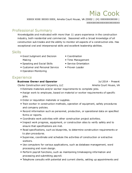 Business Owner and Operator resume example Virginia