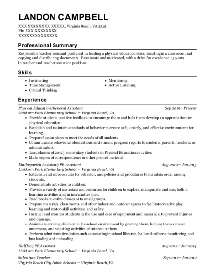 Physical Education resume sample Virginia