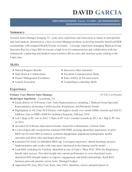 Primary Care District Sales Manager resume format Virginia