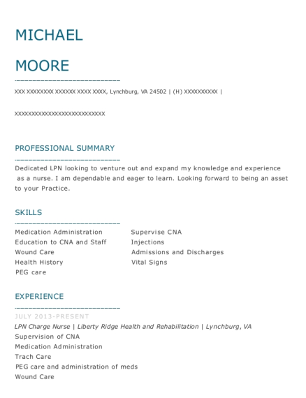 LPN Charge Nurse resume example Virginia