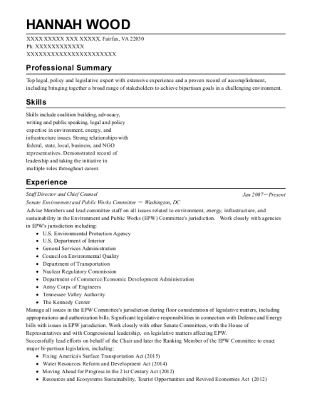 Staff Director and Chief Counsel resume template Virginia