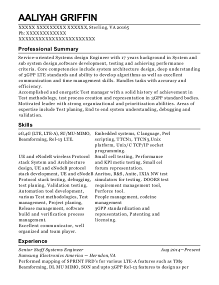 Senior Staff Systems Engineer resume template Virginia