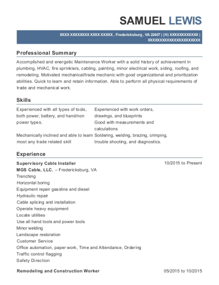 Supervisory Cable Installer resume example Virginia