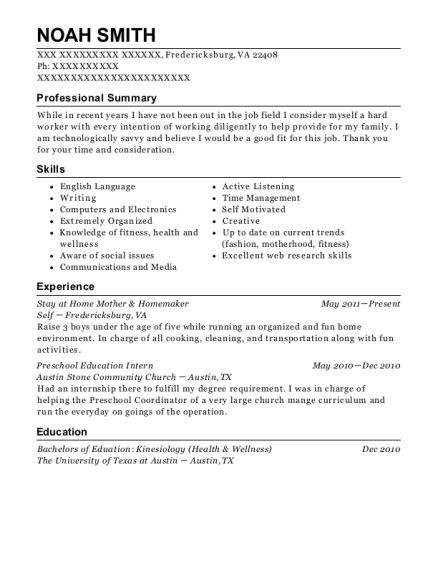 Stay at Home Mother & Homemaker resume template Virginia