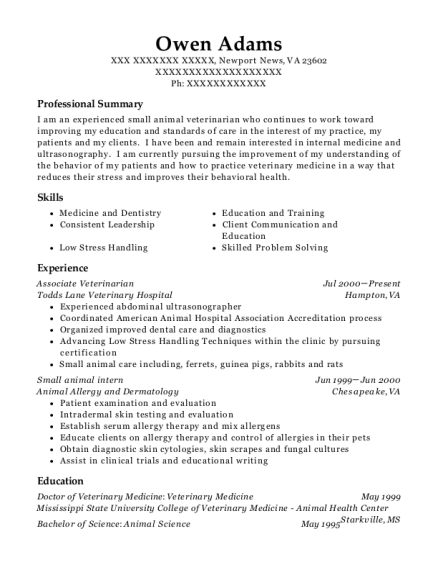 Associate Veterinarian resume example Virginia