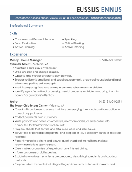 Manny House Manager resume example Virginia