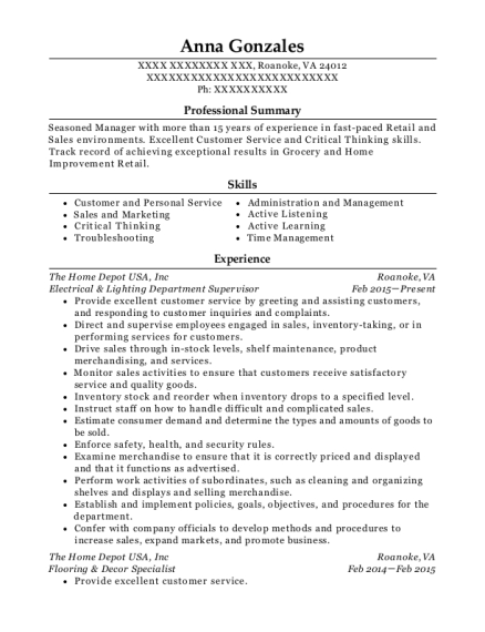 Electrical & Lighting Department Supervisor resume sample Virginia